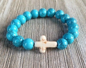 Turquoise Beaded Bracelet, Stackable Bracelet, Cross Bracelet