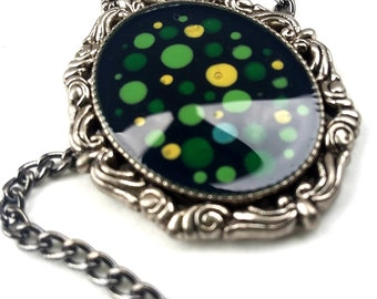 Painted Green Dots Pendant Necklace