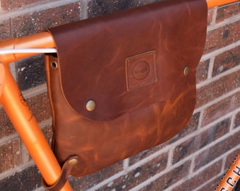 Leather bicycle frame bag / shoulder bag - Bikegab