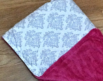 Baby Blanket; Baby Girl Blanket; Pink, White, Minky; Optional Personalization