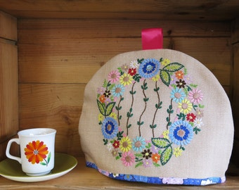 Vintage Embroidered Fabric Tea Cosy.