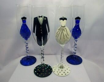 Hand Painted, Embellished Champagne Wedding Flutes