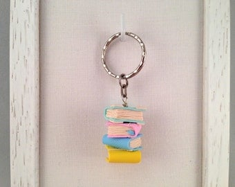 Key ring Keychain with fimo books with polimery clay books