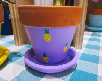 Handpainted Pineapple Plant Pot with Saucer