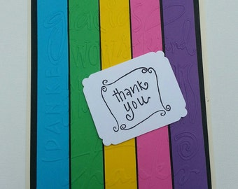Thank You Greeting Card - Handmade Card - Thank You - Blank Inside - Friendship Greeting - Appreciation Card - Note Card