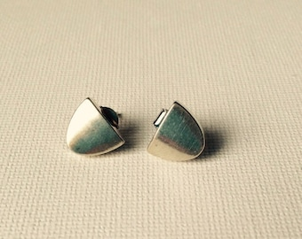 Sterling silver half oval stud earrings