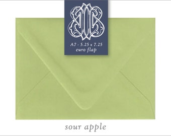 Sour Apple   10 Blank A7 Euro Envelopes