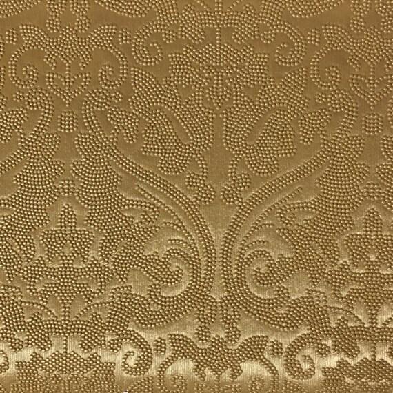 Vinyl Upholstery Fabric Lyon Gold Damask Designer