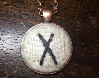 Hand Embroidered Rune Pendant