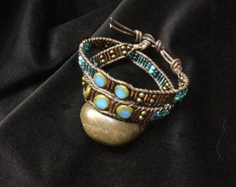 Richly unique stone and beaded leather wrap bracelet, boho wrap with glass beads, chan luu style