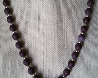 Purple and Metal Necklace