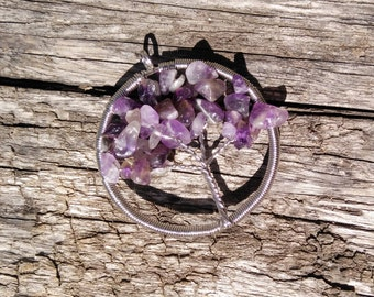 Amethyst Tree of Life Pendant February Birthstone Pendant Only