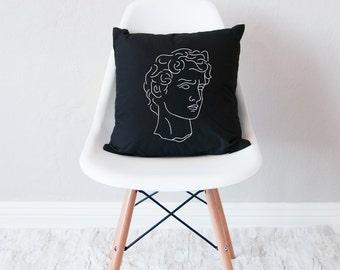Black throw pillow with insert / minimal home decor / roman design cushion /