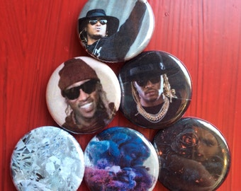 "1.25"" Future pin back button set of 6"