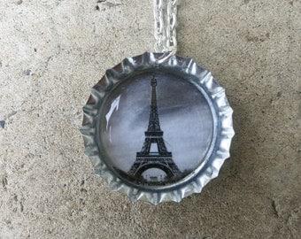 Eiffel Tower Bottle Cap Necklace