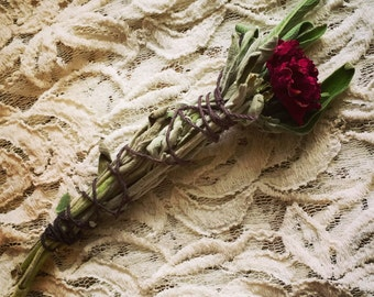 Sage and Mint Smudge Stick with Rose