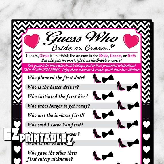 Printable Wedding Shower Game / Bridal Shower Games Guess