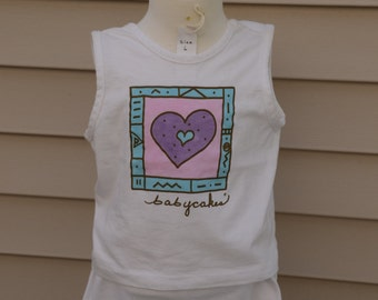 "Hand pained tank top/shorts combo ""hearts"" - Size 10"