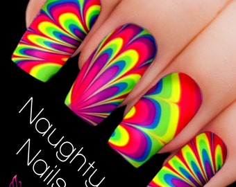 FANTASY Rainbow Water Marble Nail Decal DIY Nail Tattoo Transfer Holo