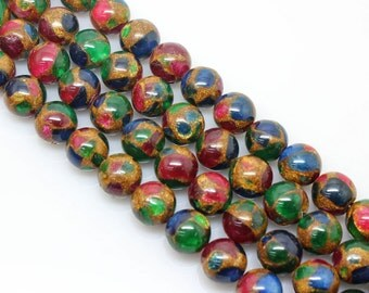Ruby Zoisite, Golden Pressed Jade, Round  Beads, Jade Beads, Sapphire Blus, Ruby Red, Emerald Green, 6 8 10 12 14 16mm, (OB035)