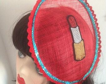 Pillbox Hat Fascinator Red Lipstick Sequins Rouge à Lèvres Millinery Bibi Fifties
