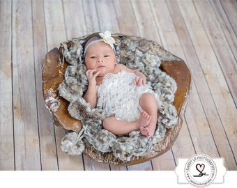 Newborn Brown Wood Bowl Digital Backdrop