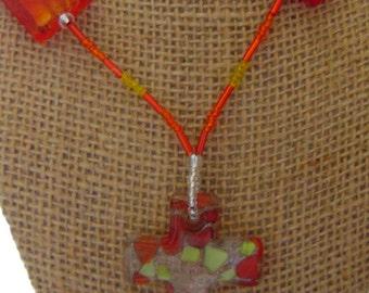 Glass Cross Necklace
