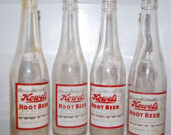Four Vintage Howel's Root Beer Bottles from the 30s 40s
