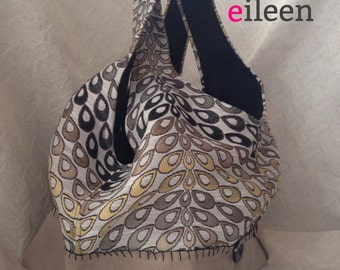 handmade tapestry & suede hobo bag from reclaimed textiles