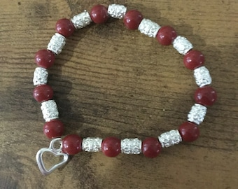 Red Glass Beads and Ornate Silver Bracelet with Open Heart Charm