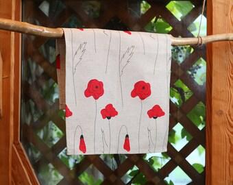 Linen Tea towel Poppies