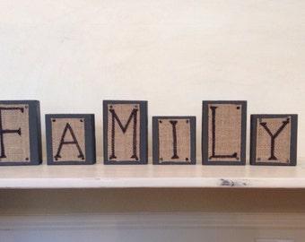 Family Wood Blocks-Burlap Blocks-Rustic Home Decor-Housewarming Gift-Family Sign-farmhouse Decor-Burlap Home Decor-Mantle Decor