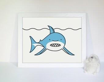 11 x 14 Sea Animal Nursery Art Print, Shark Nursery Wall Decor, Baby Wall Art, Baby Shower Gift, Ocean Nursery Print, Under the Sea Print