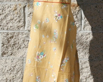 Sundress,open back,hatler,white or mustard,mid cap length,100%cotton,floral pattern,fit size XS or S