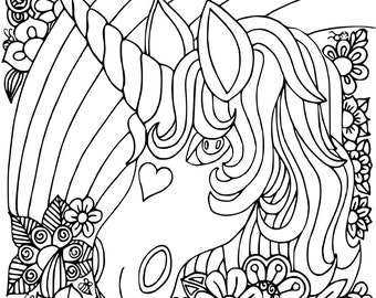 HappyUnicorn, 1 KId's Coloring Book Page, Printable Instant Download