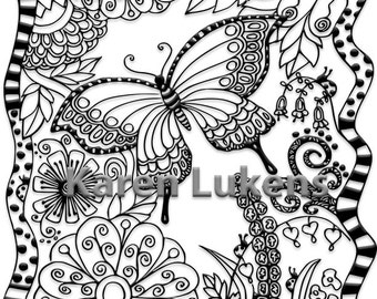 5 pages, Butterfly Garden Pack #1, 5 Adult Coloring Book Pages, Printable Instant Download