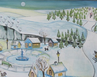 Watercolor Watercolor Painting naive Naeve Winter Season Invierno