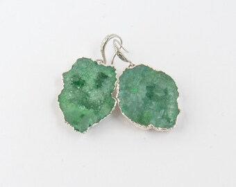 Earrings  green toned quartz