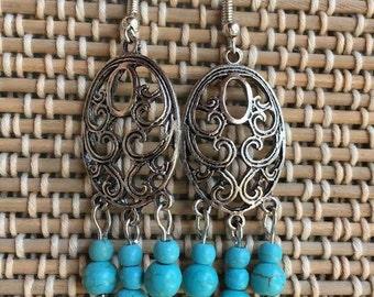 Vintage Oval Earrings-Turquoise