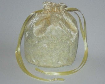 Lemon Yellow Satin & Lace Dolly Bag Evening Handbag Or Purse For Wedding Or Bridesmaid
