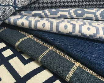 Lot of remnant blue upholstery fabrics-great for pillows small projects