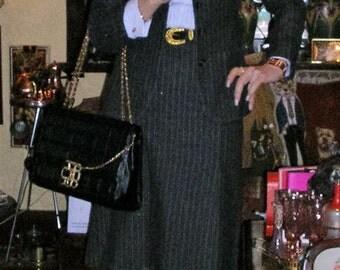 Vintage 60 grey pinstriped virginwool Jobis of Germany 3 pce skirts suit (pencil skirt/ longsleeve jacket) + co-ord cufflink shirt sz: small