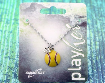 Customized Enamel Softball Shortstop Necklace - Personalize with Jersey Number, Heart Charm, or Letter Charm! Great Softball Gift!
