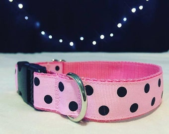 Pink & Black Dog Collar