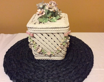 Country Cottage Vintage Capodmonti Hand Painted Flowers porcelain braided Basket Box with Lid