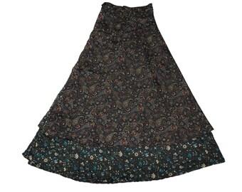 Vintage Silk Umbrella Long Umbrella Black Color Skirt Wrap Skirt Sari Skirt Moon Magic Skirt  Reversible Skirt,