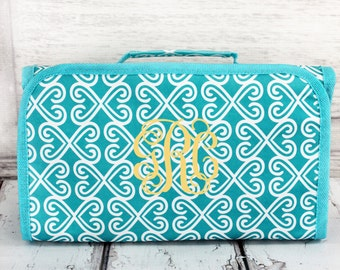 Monogrammed Roll Up Cosmetic. Aqua Trellis. Great for Travel