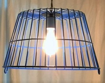 One of a kind, vintage egg basket pendant light