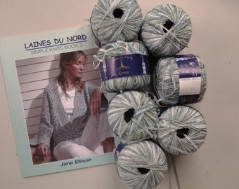 "Laines du Nord Booklet ""Simple Knits book 2"" by Jane Ellisson plus 7 skeins of ribbon yarn in watery blue shade."