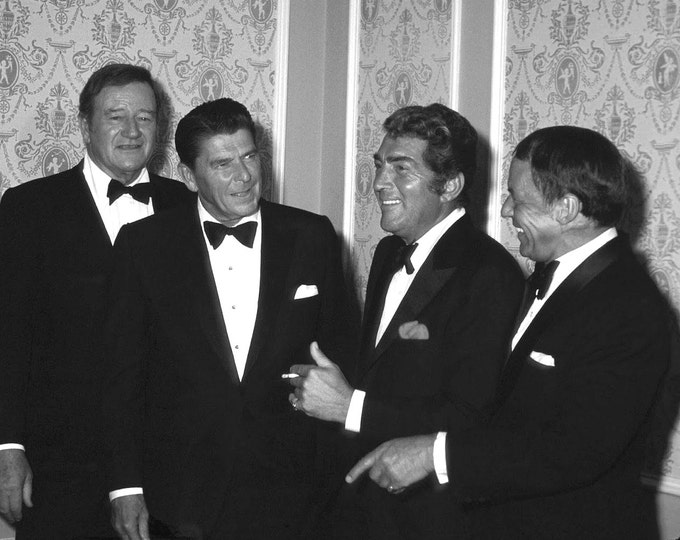 John Wayne, Ronald Reagan, Dean Martin and Frank Sinatra in 1977 - 5X7 or 8X10 Photo (EP-575)